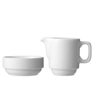 Sukkerskål og flødekande i hvid porcelæn udlejes i hele Nordjylland til fester og andre arrangementer